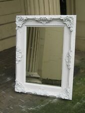 VERSACE PURE WHITE SHABBY CHIC  LARGE FRENCH LEANER WOOD MIRROR 6FT x 4FT