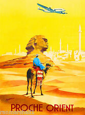Egypt Cairo Sphinx Proche Orient Egyptian Vintage Travel Advertisement Poster