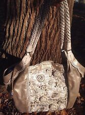 BRIGHTON  NATINA CHAMPAGNE GOLD 3D FLOWERED XLG. LEATHER ORGANIZER SHOULDER BAG