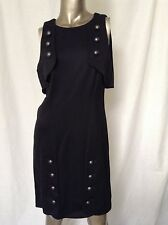 Fendi Black Fitted Slimming Sleeveless Chic Button Accessorized Dress 44 8