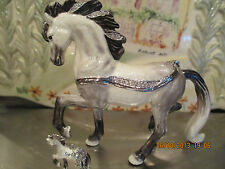 "ANTONIO  "" THE ANDALUSIAN HORSE  ~  ENAMELED JEWEL BOX & NECKLACE #62640"