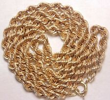 Vintage Antique Estate 1/20 14K GF Yellow Gold Filled Rope Chain Necklace 16.5""