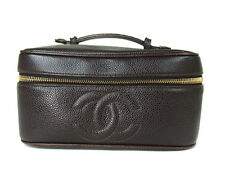 Auth CHANEL Dark Brown Caviar Skin Leather Vanity, Cosmetic Pouch Bag CB10208L