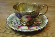 Vintage AYNSLEY Bone China ORCHARD Fruit TEA CUP & SAUCER Heavy GOLD HP Signed