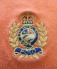 Ralph Lauren Cotton BrightOrange Embroidered Crest Polo Shirt 5XB XXXXXL Big Man