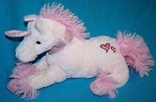 """Inter American Plush PINK UNICORN 12"""" Sparkly Horn HEARTS Stuffed Soft Toy 2014"""