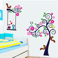 Squirrel Owl Bird Flower Tree Cartoon Wall Sticker Decal Kids Room Nursery Decor