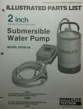 Homelite 2 inch Submersible Water Pump Parts Manual 8pg SP200-2A & -2B 110v 220v
