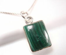 Small Malachite Simple Rectangle 925 Sterling Silver Necklace New 749g
