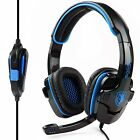 Sades SA-708 HiFi Stereo Headband PC Laptop Pro Gaming Headset Blue 3.5mm w/Mic