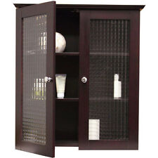 NEW Bathroom Storage Furniture Wall Cabinet w/  Two Glass Doors Free Shipping