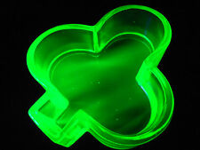 Green Vaseline Uranium glass club salt dip cellar celt yellow poker card euchre