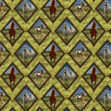Wild Wings Camden Yard Diamond Braid Horses in Grass Cotton Fabric Fat Quarter