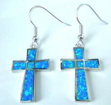 FABULOUS BLUE FIRE CREATED OPAL CROSS EARRING  20 X 15 MM