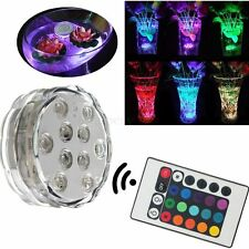 10 LED RGB Multi Colore Aqua Submersible Vaso Base Candela Light Up Lamp +Remote