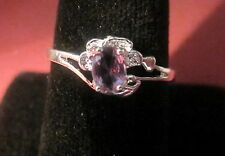 CUBIT ZIRCONIA RING PINK SIZE 8 1/2 SILVER PLATED