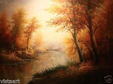 """Quality Oil Painting on Canvas - 36x48"""" Enchanting Autumn Trees near Lake"""