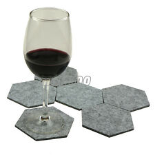 Gray Geometric Hexagon Drink Wine Glasses Coffee Pot Cup Coasters Felt Fabric
