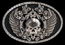 Harley Davidson Womens Untamed Willie G Skull Wings with Rhinestones Buckle