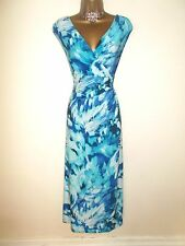 BEAUTIFUL PRECIS PETITE BLUE FLORAL PRINT LONG EVENING DRESS 16