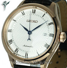 SEIKO CLASSIC ROSE GOLD TONE AUTO WHITE FACE & LEATHER BUCKLE STRAP SRP772J1