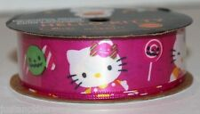 "Hello Kitty Print Halloween Hot Pink Candy Ribbon 7/8""x9' 100% Polyester Party"