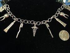 """Dental Dentist Tibetan Silver Charms w/8"""" Bracelet"""
