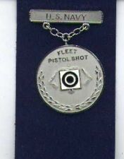 US Navy Fleet Pistol Shot Shooting badge in silver