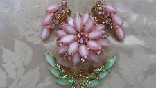 Delizza Elster Juliana Two Tone Navette Rhinestone Brooch & Earrings/5pcs.
