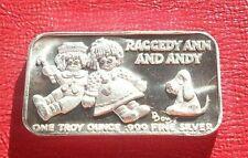 Raggedy Ann And Andy .999 Fine Silver By International Silver Ingot Co. Rare