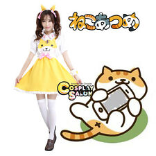 Neko Atsume White Mixed Yellow Cat Cute Maid School Style Anime Cosplay Costume
