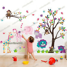 Owl Monkey Flower Tree Animal Zoo Wall Stickers Art Decal Paper Girls Kids Decor