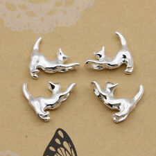 Wholesale 20pcs Tibet silver Lovely cat Charm Pendant beaded Jewelry 16x15mm