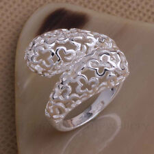 CURVY STATEMENT RING, Sterling Silver Plated Thumb/Wrap ADJUSTABLE Filigree Gift
