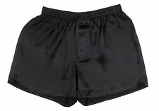 SEXY 100% Charmeuse SILK Mens Boxer Shorts XL 36-38 (Black)