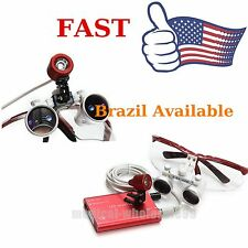 USPS Dental Surgical Magnifier Binocular Loupe Glasses+ LED Head Light Lamp Kit