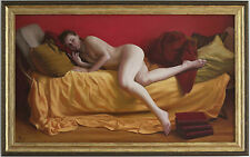 Original Framed Oil Painting Female Nude Girl reclining bed with books Realist