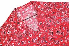 MENS L/XL VTG Button Shirt Red Bandana All Over Print Cowboy Western Rodeo