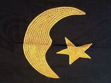 African Embroidered on Brocade Fabric Adinkra symbol  crescent moon star