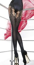 Fiore Collection Patterned Tights 40 Denier Mock Suspender Stockings Tights