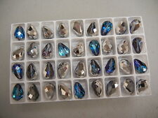 24 new preciosa teardrop crystal beads,15x10mm bermuda blue