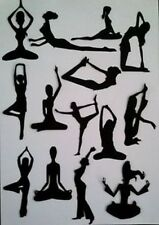 14 x LADY WOMAN YOGA GIRL EXERCISING  SILHOUETTE   Die Cuts Quality  Black Card