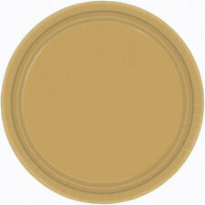 8 x Plain GOLD Party Paper Dinner Plates Tableware FREE P&P