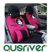Universal Car Seat Cover Cat Pink & Black For Accent Elantra i20 i30 ix35 Passat
