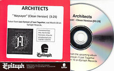 ARCHITECTS Alpha Omega / Naysayer - pair of 1-track promo test CDs