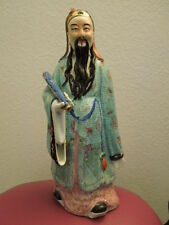 "Antique Chinese Porcelain Pastel Figurine Statue 16"" 萬同順 Wantongshun 1920s"