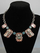 Betsey Johnson Pink Rectangle Set Stone Seahorse Crab Frontal Necklace $45