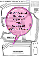 STRETCH BODICE & SKIRT  BLOCK SIZES XXS  TO XXL SLOPER FASHION PATTERN BLOCK-