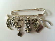 Silver Tone Kilt Pin Brooch - GOOD LUCK IRISH CHARM INSPIRED  gift bag  present