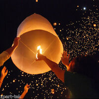 50X White Chinese Paper Sky Flying Wishing Lantern Fly Lamp Candle Party Wedding